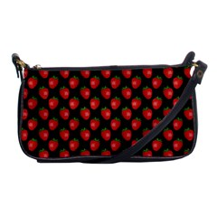 Fresh Bright Red Strawberries on Black Pattern Shoulder Clutch Bags