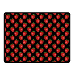 Fresh Bright Red Strawberries on Black Pattern Fleece Blanket (Small)