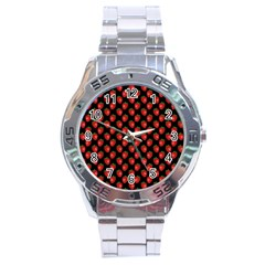 Fresh Bright Red Strawberries on Black Pattern Stainless Steel Analogue Watch