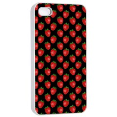 Fresh Bright Red Strawberries on Black Pattern Apple iPhone 4/4s Seamless Case (White)