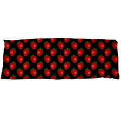 Fresh Bright Red Strawberries on Black Pattern Body Pillow Case Dakimakura (Two Sides)