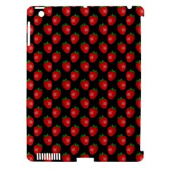 Fresh Bright Red Strawberries on Black Pattern Apple iPad 3/4 Hardshell Case (Compatible with Smart Cover)