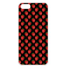 Fresh Bright Red Strawberries on Black Pattern Apple iPhone 5 Seamless Case (White)