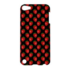 Fresh Bright Red Strawberries on Black Pattern Apple iPod Touch 5 Hardshell Case