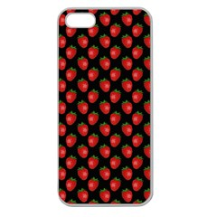 Fresh Bright Red Strawberries on Black Pattern Apple Seamless iPhone 5 Case (Clear)