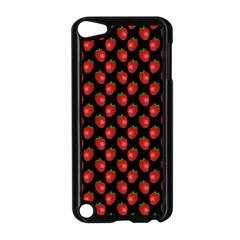 Fresh Bright Red Strawberries on Black Pattern Apple iPod Touch 5 Case (Black)