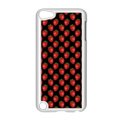 Fresh Bright Red Strawberries on Black Pattern Apple iPod Touch 5 Case (White)