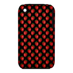 Fresh Bright Red Strawberries on Black Pattern iPhone 3S/3GS