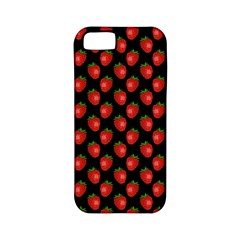 Fresh Bright Red Strawberries on Black Pattern Apple iPhone 5 Classic Hardshell Case (PC+Silicone)