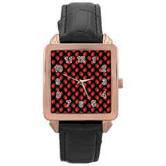 Fresh Bright Red Strawberries on Black Pattern Rose Gold Leather Watch