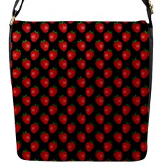 Fresh Bright Red Strawberries on Black Pattern Flap Messenger Bag (S)