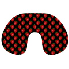 Fresh Bright Red Strawberries on Black Pattern Travel Neck Pillows