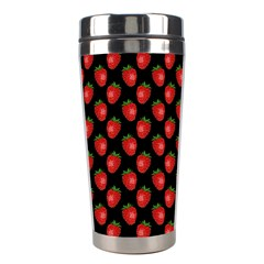 Fresh Bright Red Strawberries on Black Pattern Stainless Steel Travel Tumblers