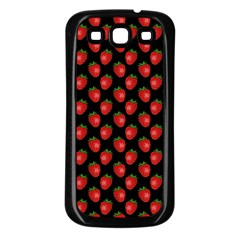 Fresh Bright Red Strawberries on Black Pattern Samsung Galaxy S3 Back Case (Black)