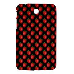 Fresh Bright Red Strawberries on Black Pattern Samsung Galaxy Tab 3 (7 ) P3200 Hardshell Case