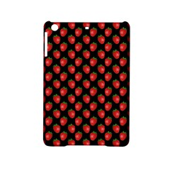 Fresh Bright Red Strawberries on Black Pattern iPad Mini 2 Hardshell Cases