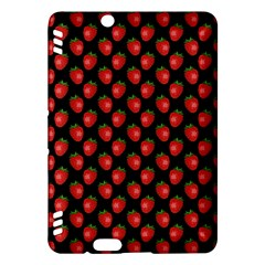 Fresh Bright Red Strawberries On Black Pattern Kindle Fire Hdx Hardshell Case