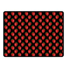 Fresh Bright Red Strawberries On Black Pattern Double Sided Fleece Blanket (small)