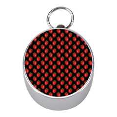 Fresh Bright Red Strawberries on Black Pattern Mini Silver Compasses