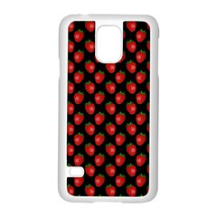 Fresh Bright Red Strawberries on Black Pattern Samsung Galaxy S5 Case (White)