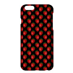 Fresh Bright Red Strawberries on Black Pattern Apple iPhone 6 Plus/6S Plus Hardshell Case