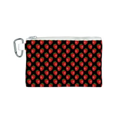 Fresh Bright Red Strawberries on Black Pattern Canvas Cosmetic Bag (S)