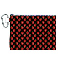 Fresh Bright Red Strawberries on Black Pattern Canvas Cosmetic Bag (XL)