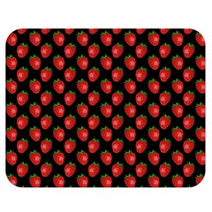 Fresh Bright Red Strawberries on Black Pattern Double Sided Flano Blanket (Medium)