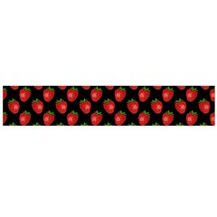 Fresh Bright Red Strawberries on Black Pattern Flano Scarf (Large)
