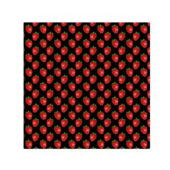 Fresh Bright Red Strawberries on Black Pattern Small Satin Scarf (Square)