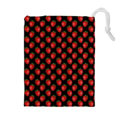 Fresh Bright Red Strawberries on Black Pattern Drawstring Pouches (Extra Large)
