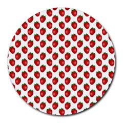 Fresh Bright Red Strawberries on White Pattern Round Mousepads