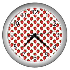 Fresh Bright Red Strawberries on White Pattern Wall Clocks (Silver)
