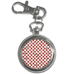 Fresh Bright Red Strawberries on White Pattern Key Chain Watches