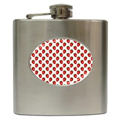 Fresh Bright Red Strawberries on White Pattern Hip Flask (6 oz)