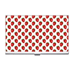 Fresh Bright Red Strawberries on White Pattern Business Card Holders