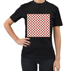 Fresh Bright Red Strawberries on White Pattern Women s T-Shirt (Black) (Two Sided)