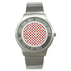 Fresh Bright Red Strawberries on White Pattern Stainless Steel Watch