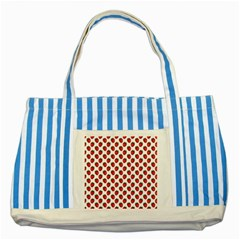 Fresh Bright Red Strawberries on White Pattern Striped Blue Tote Bag