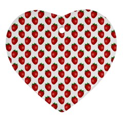Fresh Bright Red Strawberries on White Pattern Heart Ornament (Two Sides)