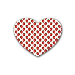 Fresh Bright Red Strawberries on White Pattern Rubber Coaster (Heart)