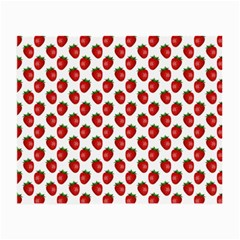 Fresh Bright Red Strawberries on White Pattern Small Glasses Cloth (2-Side)