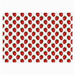 Fresh Bright Red Strawberries on White Pattern Large Glasses Cloth