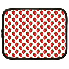 Fresh Bright Red Strawberries on White Pattern Netbook Case (Large)
