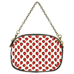 Fresh Bright Red Strawberries on White Pattern Chain Purses (Two Sides)
