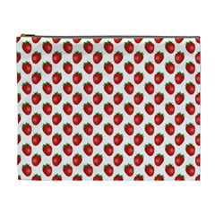 Fresh Bright Red Strawberries on White Pattern Cosmetic Bag (XL)