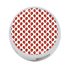 Fresh Bright Red Strawberries on White Pattern 4-Port USB Hub (One Side)