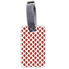 Fresh Bright Red Strawberries on White Pattern Luggage Tags (Two Sides)