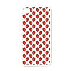 Fresh Bright Red Strawberries on White Pattern Apple iPhone 4 Case (White)