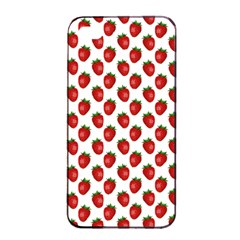 Fresh Bright Red Strawberries on White Pattern Apple iPhone 4/4s Seamless Case (Black)